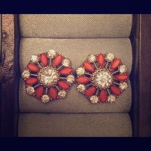 Coral and Crystal stud flower earrings